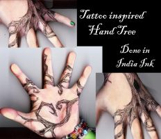Tattoo Inspired Hand Tree by RoseScentedCorpse