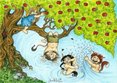 Troll children playing in the Lake by Chhan