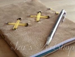 Beige Nubuck Notebook with a Yellow Ribbon by izasartshop
