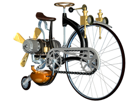 Steampunk Bike 03 PNG Stock by Roys-Art