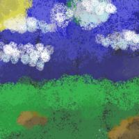 Sponge painting, cloudy day by goldenEden