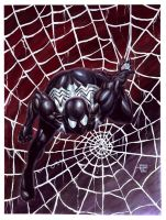 Watercolors-Gouache Spider-Man Black by edtadeo