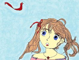 Girl with ribbon by Saraine