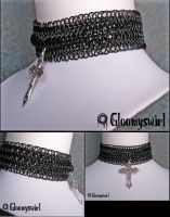 Black chainmaille choker by Gloomyswirl