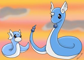 Dratini And Dragonair V2 by apanda54