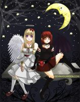 Devil and Angel: moon by L-Ange-Noir