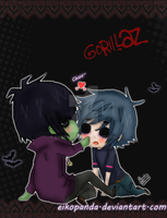 Chibi Murdoc and 2D by EikoPanda