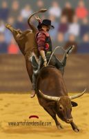 Bull Rider self portrait by Dan-DeMille
