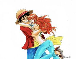 One Piece, Nami x Luffy by heivais