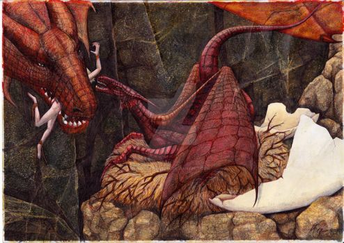 motherdragon feeds child by MaltePawelek