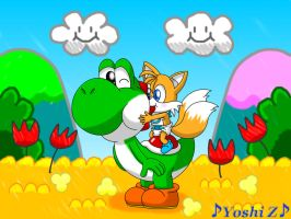 Yoshi and baby Tails by Music-Yoshi-Z