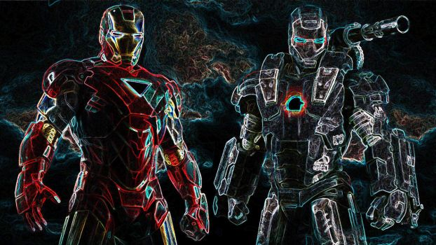 Iron Man War Machine Glow Art by 666Darks