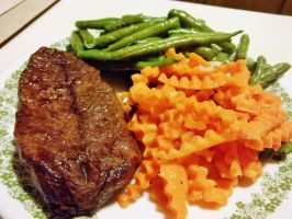 Grilled Angus Top Blade Steak and Vegetables by Pan-Zareta