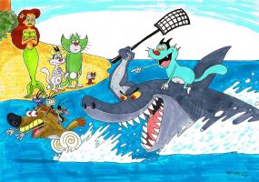 Zig and Sharko with Oggy and The Cockroaches by heivais