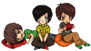 Chibi Danisnotonfire, Amazingphil and Crabsticks by BeckyTheBunny
