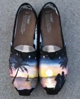 Tropical Honeymoon Painted TOMS Shoes by Ceil