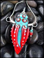 Travels in Tibet - Glass Bottle Pendant by andromeda