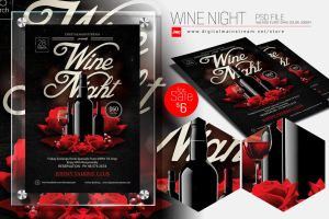 Wine Night Invitation Flyer Template by dennybusyet