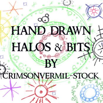 Hand Drawn Halos and Bits by crimsonvermil-stock