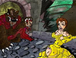 Belle Escaping The Beast by DirtyColumbus