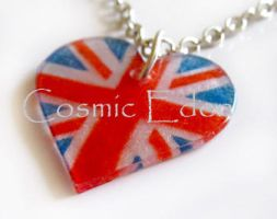 Union Jack flag necklace by CosmicEden
