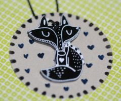 Black fox necklace by mjdaluz