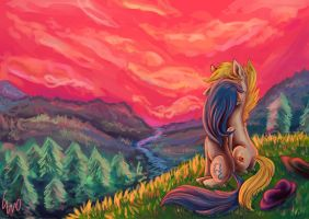 Com: Sunset in the Mountains by erovoid