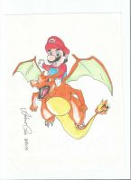 Mario and Charizard by antoniocezar