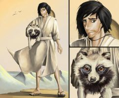 Samurai and his Raccoon Dog by Laddyshmad