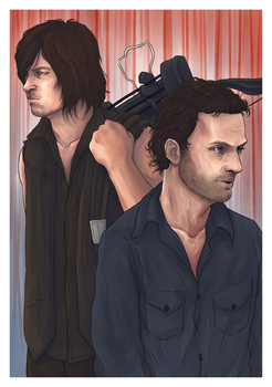 The Walking Dead - Daryl Dixon + Rick Grimes by litesnake