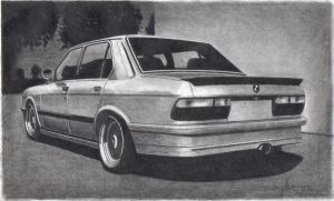 e28 bmw graphite drawing by Jarryn