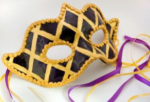 Purple And Gold harlequin mask polymer clay by amberhlynn