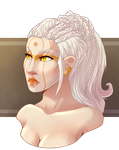 White-haired girl by MalkyTea