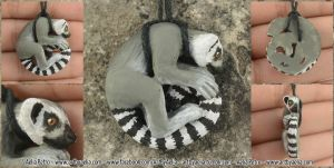 Ring Tailed Lemur Necklace by Chaotica-I