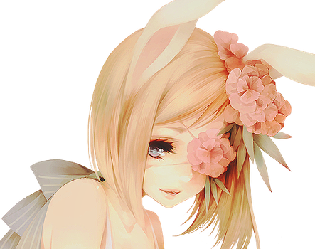 Flower Bunny Render by lraskie