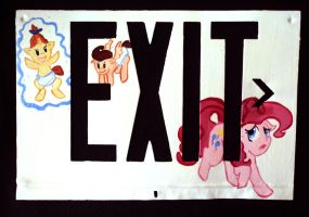 Baby Cakes Exit Sign by abaikgirl