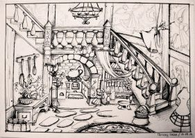 Rapunzel's room sketch by Panda-neko-pyon