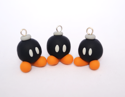 Polymer Clay Super Mario Bob-omb Charms by Linnypig