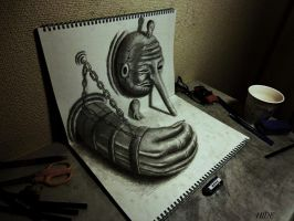 3D Drawing - Guardian deity by NAGAIHIDEYUKI