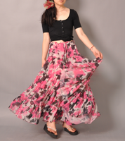 Pink White Brown Floral Skirt6 by yystudio