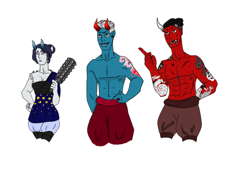 Oni Family by TheWeeArtChild