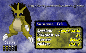 Pokesona: Eric the Sandslash by Dragon-Minded