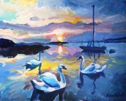 Swans at sunset by annagebal