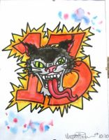Crazy Cat with 13 by IAteAllMyPaste