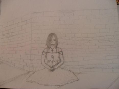 girl sitting by a brick wall by RMGart