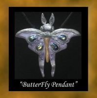 Purple Luna Moth Pendant by KabiDesigns