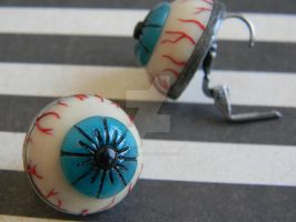Eyeball Earrings-Glow in the Dark-Polymer Clay by ThePetiteShop