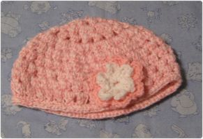 Pink and white striped baby hat by giraffesonparades