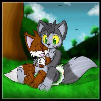 Park Cuddles :Gift Art: by BabyChrisFox