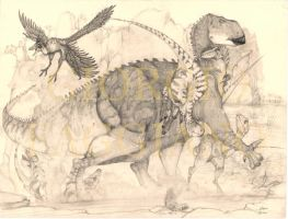 Iguanodon and Utahraptors by fagianotyrannus